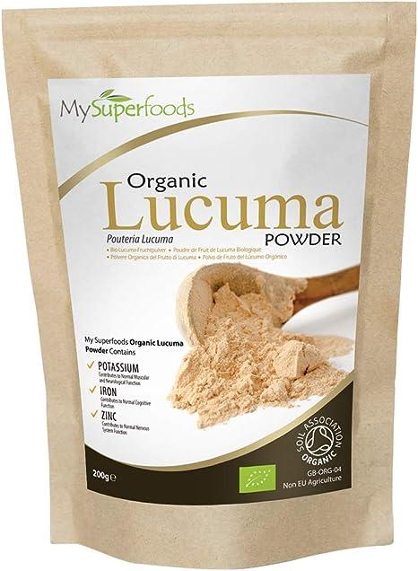 Polvo Orgánico De Lúcuma (500g),MySuperFoods,Fruto proveniente de Perú con un dulce sabor natural, Alto contenido de proteína, calcio y fosforo, certificado como producto orgánico por Soil Association: Amazon.es: Salud y cuidado personal