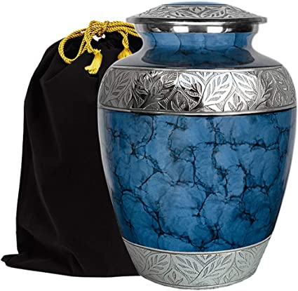 Trupoint Memorials Majestic Extra Large Blue Urn for Human Ashes A Warm and Loving Urn for Human Up to 300 Pounds w Velvet Bag
