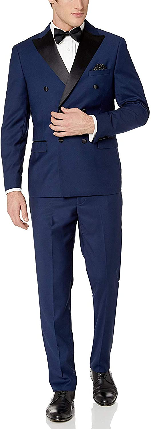 Adam Baker Men's Slim Fit One Button Satin Shawl Collar 2-Piece Tuxedo Suit - Available in Colors