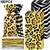 Blulu 100 Pieces Animal Print Party Supplies Bags Animal Print Design Pattern Candy Bags Sealable Treat Bags for Zoo or Jungle Halloween Theme Party Supplies (Zebra Leopard)