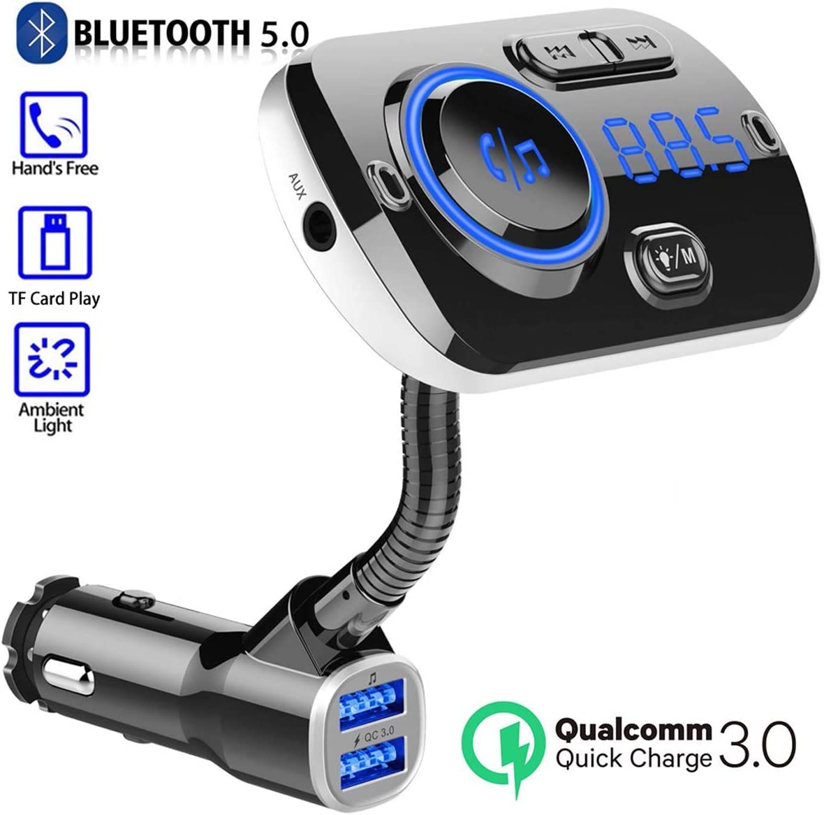 QC 3.0 Car 3 USB Fast Charger FM Transmitter Radio Adapter MP3 Player