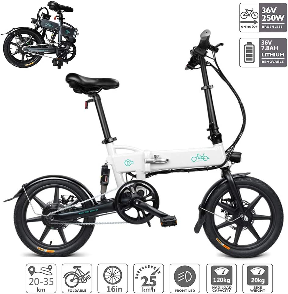 電動自転車 折り畳み式電動自転車 LEDディスプレイ付き リチウムイオンバッテリー(36V 250W 7.8AH)ブラシレス歯付きモーター アシストモード40-50Km,白 白い