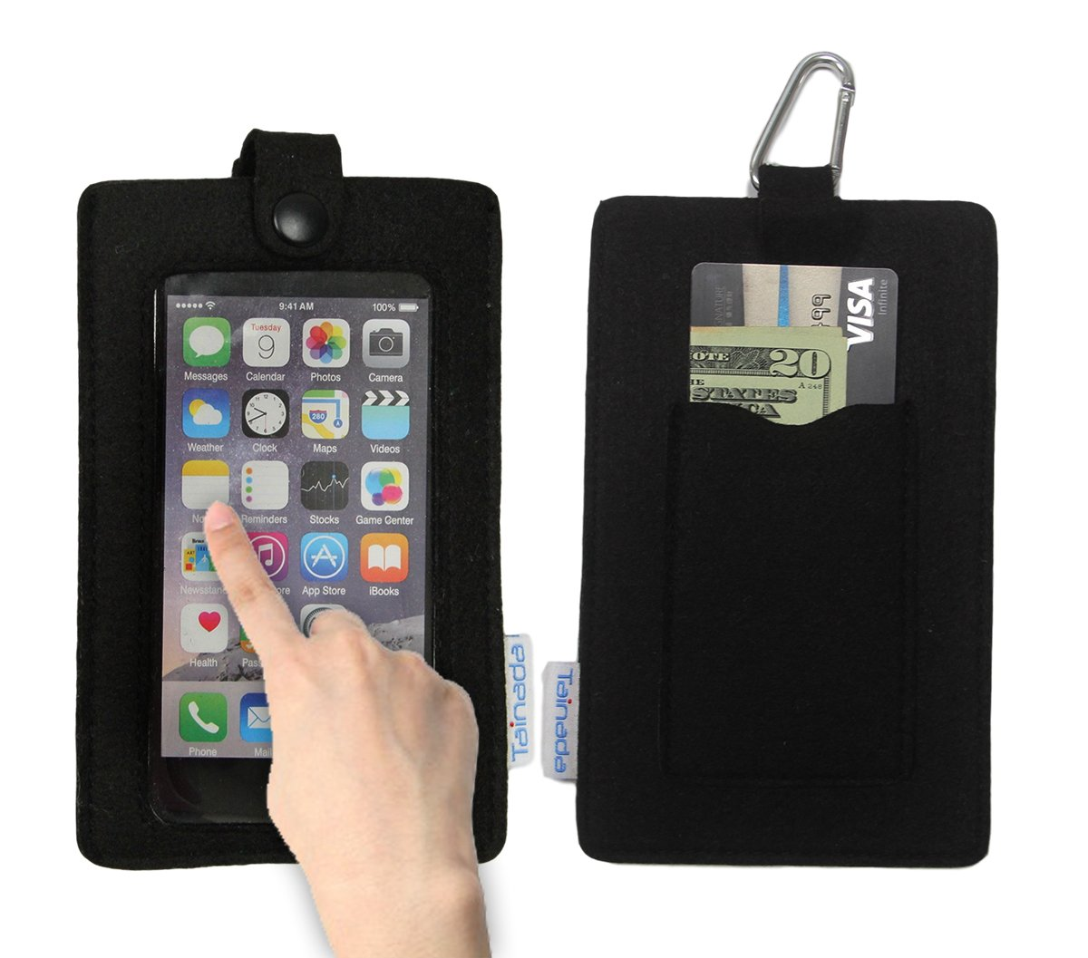 """Tainada 4.7-5.2"""" Multi-Purpose Smartphone Felt Sleeve Pouch Case with Clear View Window Touch-Screen Function and Card Holder for iPhone 8, X, 7, 6s/6, Samsung Galaxy S8, LG G6 and more! (Black)"""