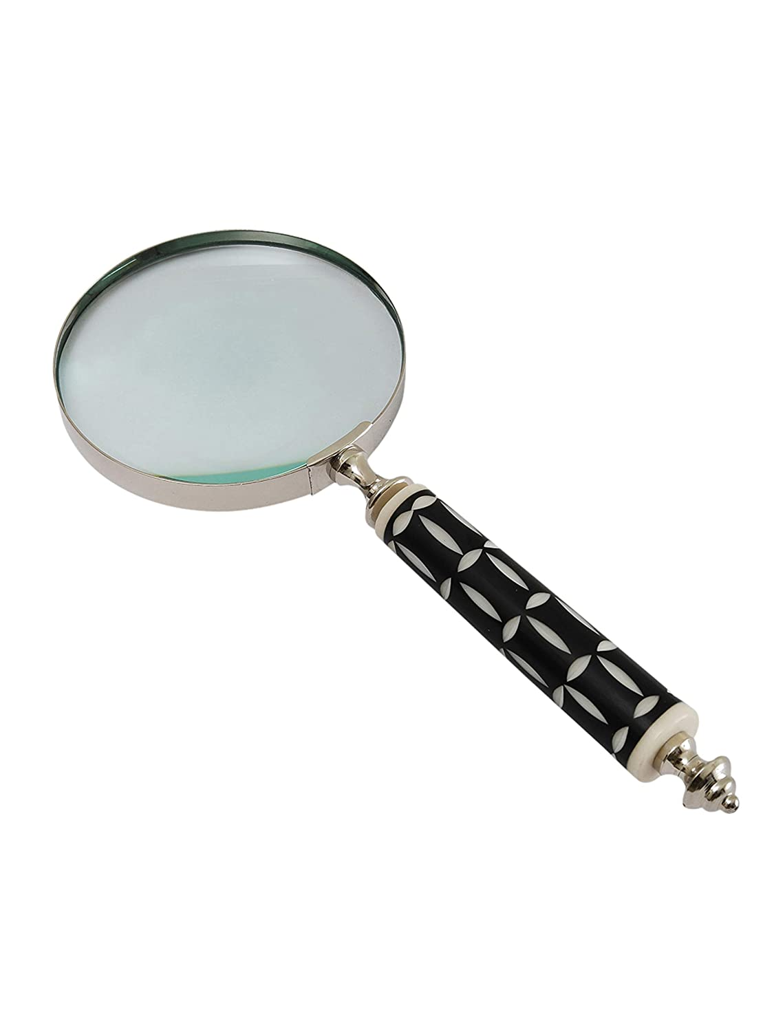 Magnifying Glass for Reading Nickle Plated Brass Handcrafted Resin Handle Magnifier with 10X Capacity