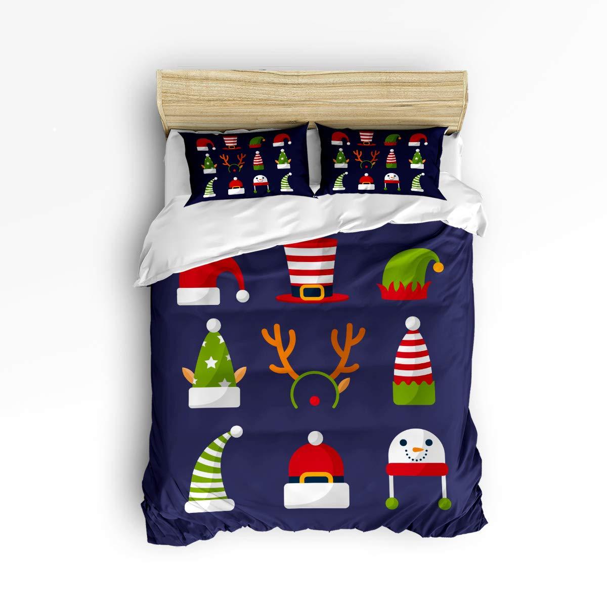 Libaoge 寝具3点セット ツイン フル カリフォルニア クイーン キングサイズ ソフトで丈夫 クリスマス 雪の結晶 星柄 プリントダウン 掛け布団カバー お揃いの枕カバー2枚 King Size WSJ-181112-3pcsXma-SWTQ00935SJSDLBG B07KVJCZ7V Christmashat3lbg6171 King Size