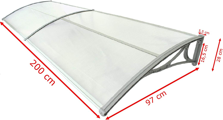 UBAYMAX Aluminium Vordach Haust/ür /Überdachung 120 /× 100 cm witterungs Regenschutz Vordach und rostbest/ändig Transparentes 5 mm T/ürvordach Haust/ürvordach T/ürdach Pultvordach