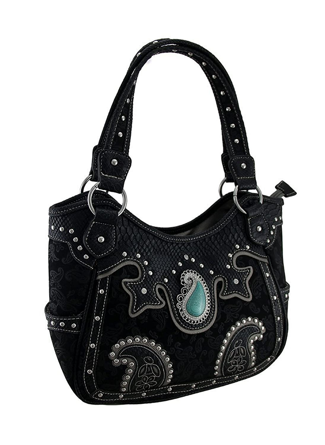 Paisley Motif Metallic Trim Studded Concealed Carry Handbag