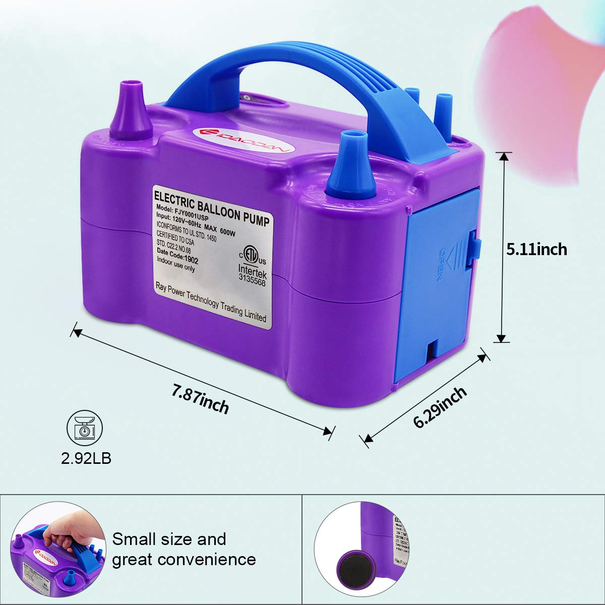 Portable Dual Nozzle Electric Balloon Inflator//Blower for Party Decoration 110V 600W Purple IDAODAN Electric Air Balloon Pump