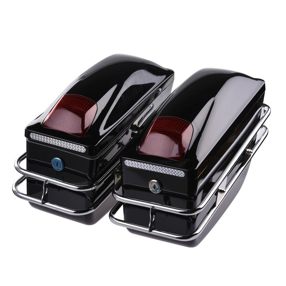 ACUMSTE Motorcycle Trunk, 2Pcs Tail Box Tour Pack SaddleBags Luggage Case w/Lights Mounted for Harley Honda Yamaha Suzuki Cruiser