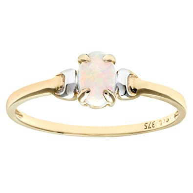 Citerna 9ct Yellow and White Gold Opal Birth Stone Ring qzCOIZGO4K