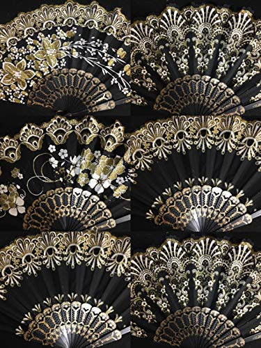 Set of 12 Spanish-Style-Black-Dance-Party-Wedding-Lace-Gold-Flower-Folding-Hand-fan -