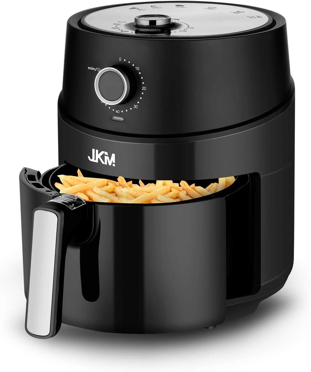 JKM 3.7 Quart Air Fryer Oven 1500W,15 E-Recipes, Control Timer&Temp Knob, Auto Shut Off, Black