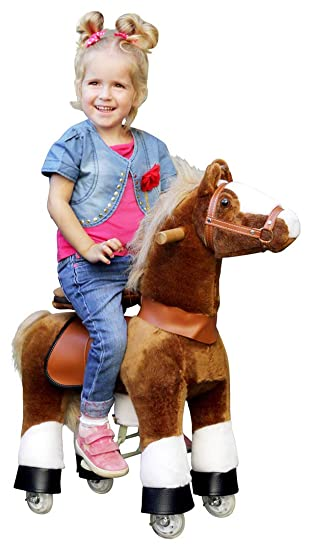 "ponycycle ""AMADEUS"" Caballo Claro Marrón, Pony Sobre Ruedas Vagabundeo Caballito balancín y"