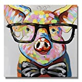 7CANVAS 100% Hand Painted Oil Painting Animal Smart Pig with Stretched Frame Wall Art for Home Decor Ready to Hang (Pig,24x24)