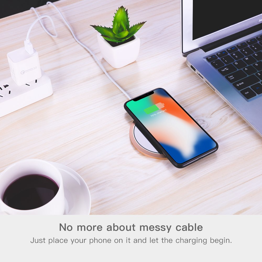 Wireless Charger, JOYROOM Wireless Charger Charging Pad for iPhone X, iPhone 8/8 Plus,Samsung Galaxy S8/S8 Plus,S7/S7 Edge,Note 8 (Gold)