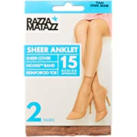Razzamatazz Women's Pantyhose 15 Denier Value Anklets (2 Pack), Tan, One Size Fits All