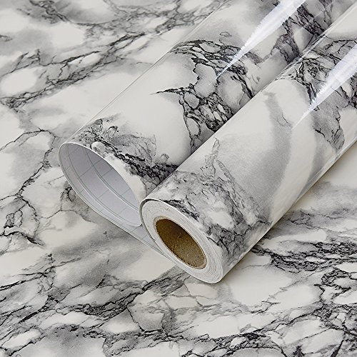 Self Adhesive Black White Marble Gloss Vinyl Contact Paper for Kitchen Countertop Cabinets Backsplash Wall Crafts Projects (24 by 117 Inches) (Kitchen Top Vinyl White)