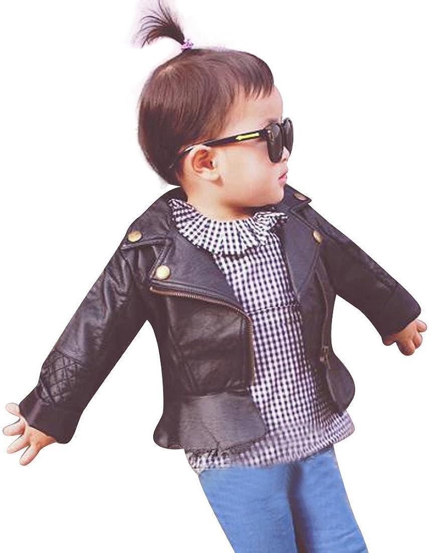 RETUROM Ropa De La Muchacha Niños, Fresca del Cabrito del Niño del BebÉ De La Manera Chaqueta De Cuero Infantil De La Capa con Capucha De La Cremallera Outwear Coats
