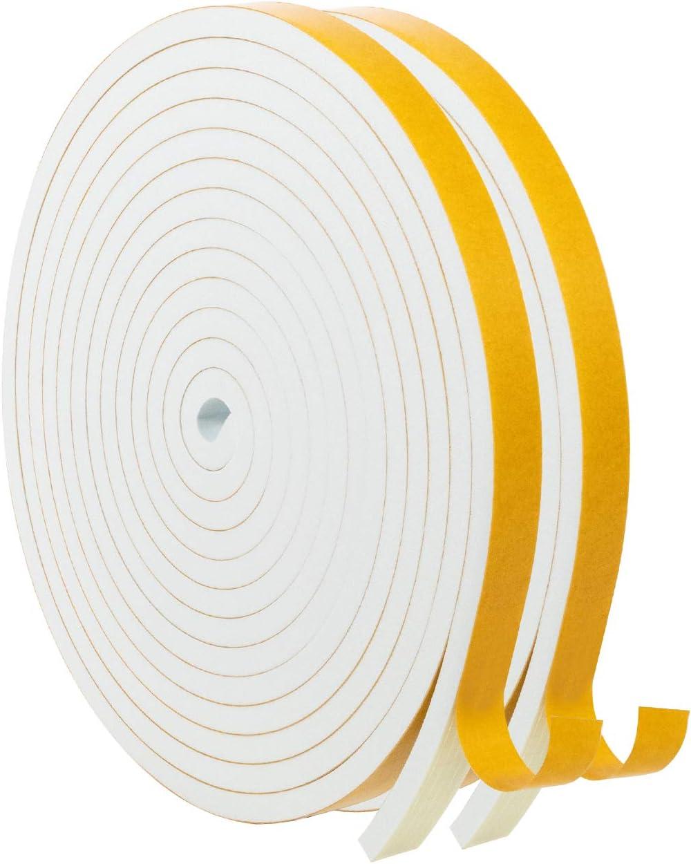 Foam Tape-2 Rolls, 1/2 Inch Wide X 1/4 Inch Thick White Foam Seal Tape High Density Weatherstripping Self Adhesive Door Insulation Foam Rubber Seal Strip Total 26 Feet Long(13ft x 2 Rolls)