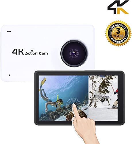 Sport Camera Sport Video 1080P HD 4K WiFi Touch Screen Action Camera Underwater 30M Cam with 170 Wide Angle Rechargeable Battery DV White