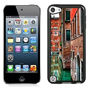 NEW Unique Custom Designed iPod Touch 5 Phone Case With Venice Street Buildings Red Brick_Black Phone Case