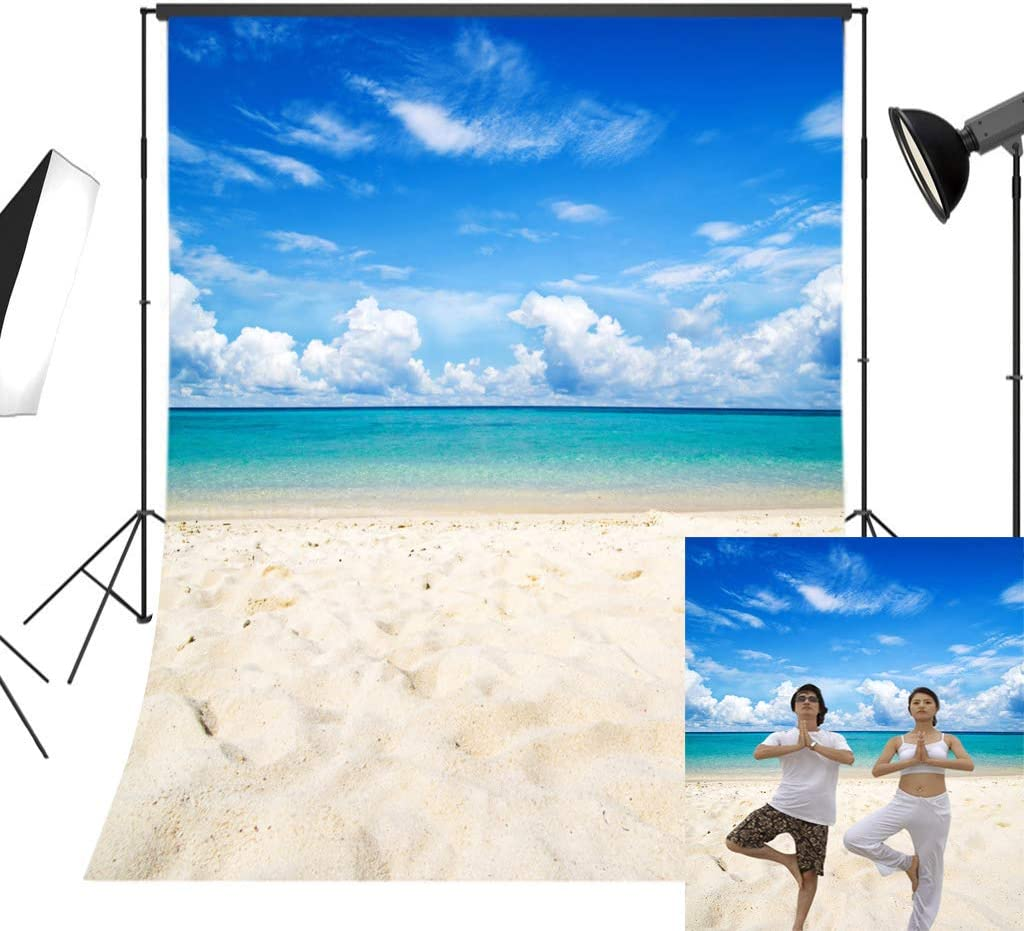 Ocean 10x12 FT Photo Backdrops,Island Sea Life Wavy Vivid Open Sunny Sea Shore Sand Beach Art Print Image Background for Baby Shower Bridal Wedding Studio Photography Pictures Bue Teal Cream White