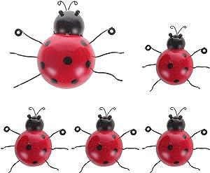 MorTime 5 Pack Metal Ladybug Garden Decorations, Decorative Hanging Ladybugs Wall Art Sculptures Red Ladybug with Black Spots Outdoor Garden Decor