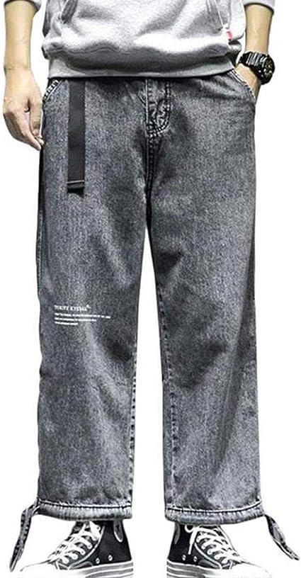 [チューカー ] メンズ デニムパンツ ゆったり ジョガーパンツ デニム ベルト付き ロングパンツ 大きいサイズ ストリート系 ファッション 原宿系 秋 冬
