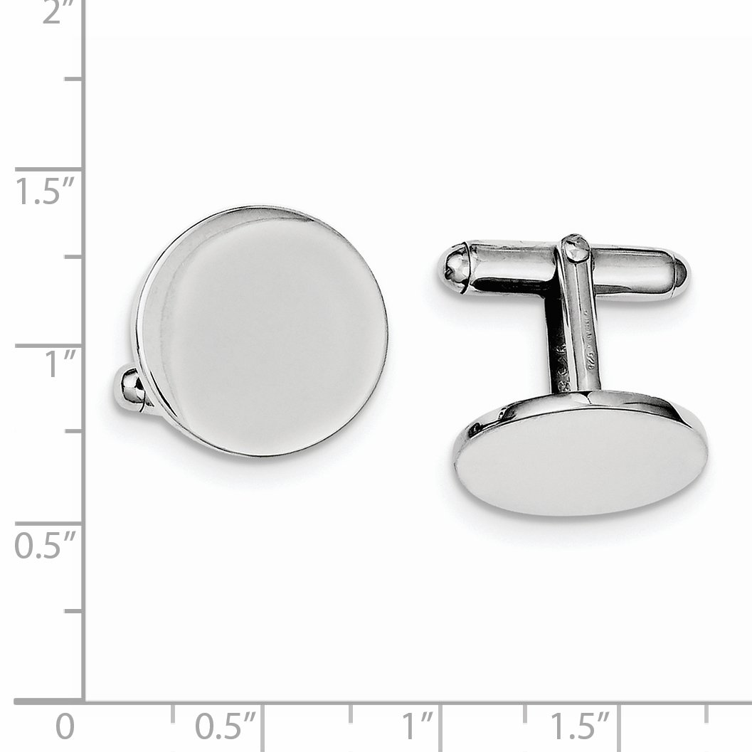 ICE CARATS 925 Sterling Silver Round Cuff Links Mens Cufflinks Man Link Fine Jewelry Dad Mens Gift by ICE CARATS (Image #2)