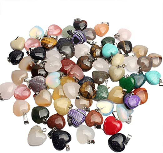 RayLineDo/® 15Pcs Hexagonal Stone Pendants DIY Crystal Charms Chakra Beads with Assorted Color for Jewelry Making