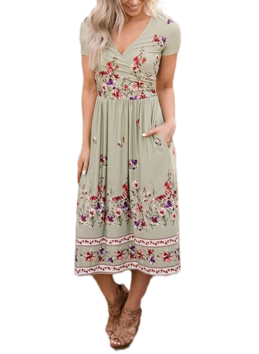CANIKAT Women's Summer Boho Floral Print V Neck Short Sleeve Cotton Swing Midi Dress Sundresses M Green