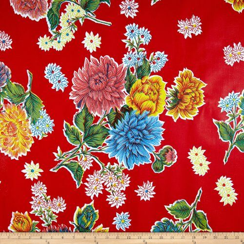 Oilcloth By The Yard (Oilcloth Mums Red Fabric By The Yard)