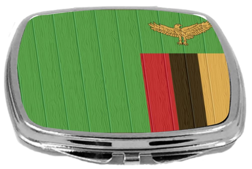 Rikki Knight Compact Mirror on Distressed Wood Design, Zambia Flag, 3 Ounce