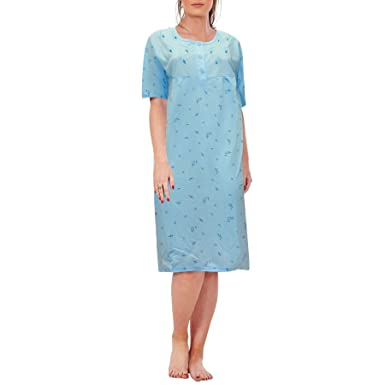 666f096c9a Bay eCom UK Women Ladies New Nightshirt Rich Cotton Floral Print Short  Sleeve Nightwear: Amazon.co.uk: Clothing