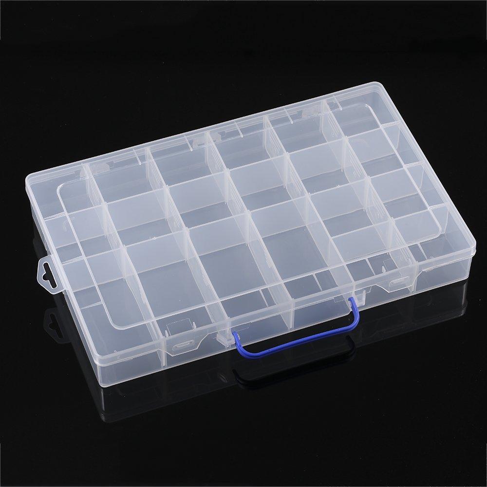 KKmoon Divisores ajustables Ranura de 20 compartimentos Organizador de caja de almacenamiento de pl/ástico Herramientas de joyer/ía Componentes electr/ónicos Contenedor