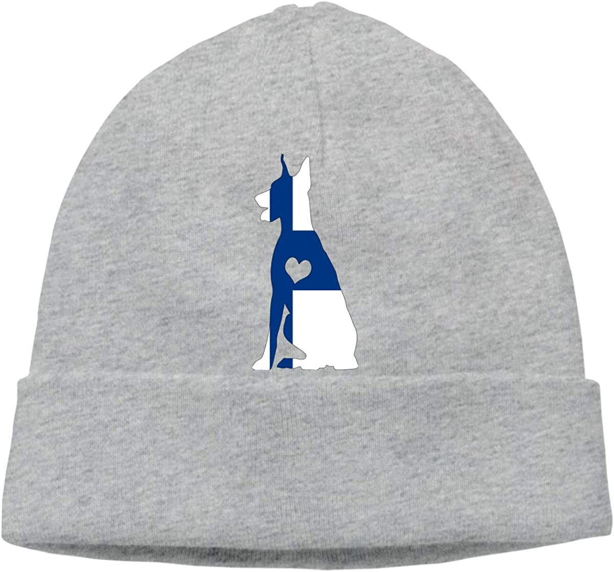 BF5Y3z/&MA Finland Flag Adore Dobermans Dog Beanie Hat for Men Women,Daily Knitted Cap Skiing Cap
