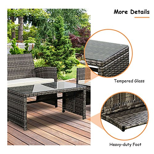 Goplus PC Patio Lawn Pool Sofa Wicker Set with Weather Resistant Cushions and Tempered