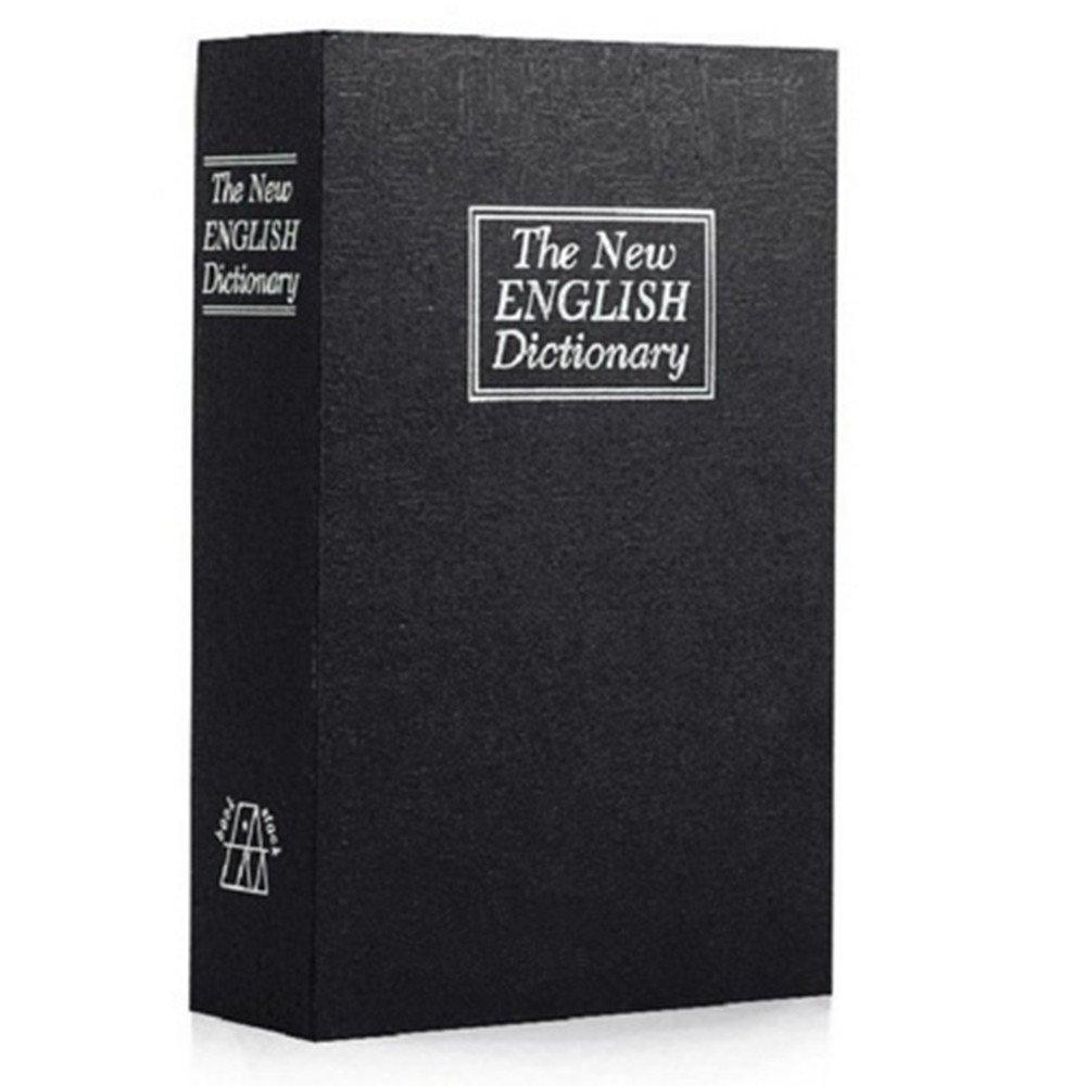 PINGJING Security Box with Key,Dictionary Book Safe Diversion Secret Hidden Security Stash Booksafe Lock & Key (Black, M)