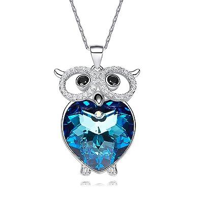 f0a449d3f4d28 CDE Colliers, Femme Colliers Bleu Cristal Swarovski Collier avec Pendentif  cœur pour Femme Teen Filles