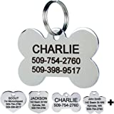 GoTags Pet ID Dog Tags. Stainless Steel. Custom Engraved. Includes up to 8 Lines of Personalized Text with Front and Backside
