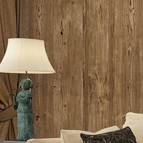 Haokhome vintage tree woods plank wallpaper roll brown 3d - Faux wood plank wallpaper ...