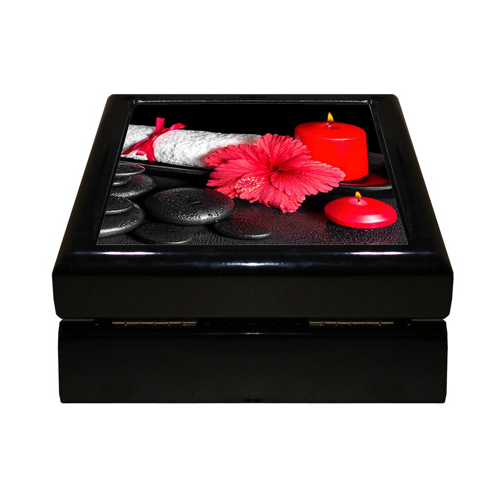 Style in Print Spa Background Hibiscus Flower Candle 4''x4'' Jewelry Box Ceramic Tile Black Frame
