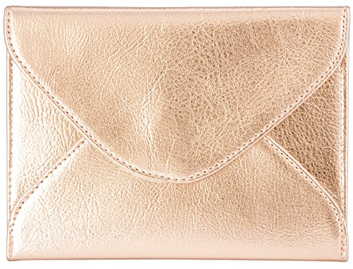 (Extra-Small Envelope Clutch Bag, 6.7 x 5.2 inches, Metallic Rose Gold For Cosmetics, Makeup, Cellphone, and Wallet - Made of Premium Vegan Leather (XSV5))