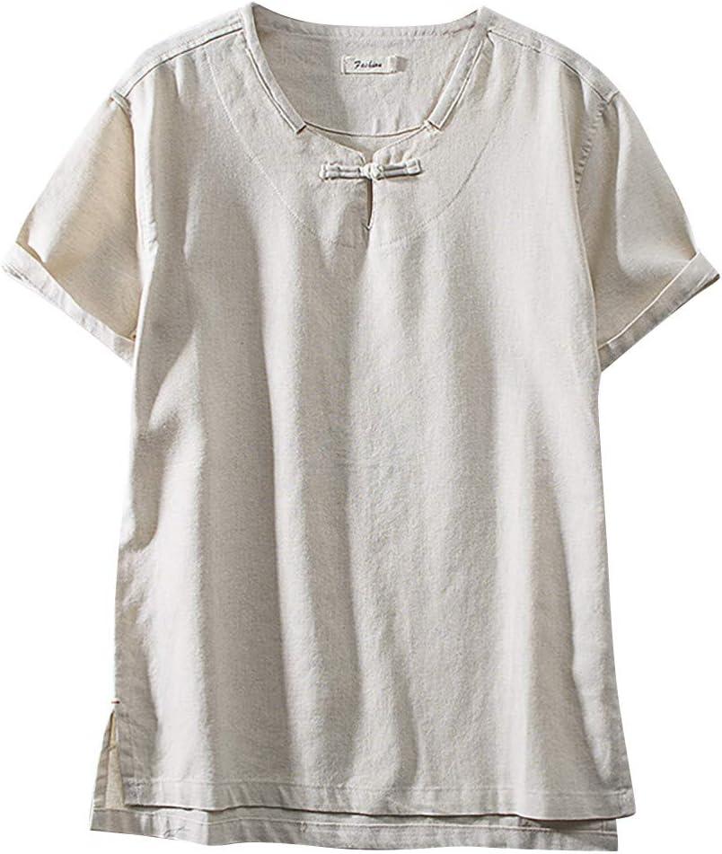 Camisa de lino PPangUDing, camisetas para hombre, camisa