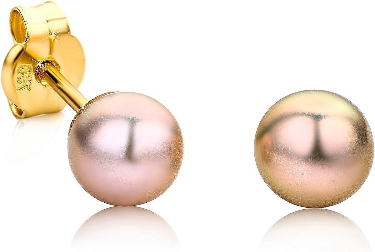 Orovi pendientes de mujer presión Perlas rosas en oro amarillo 18 kilates ley 750