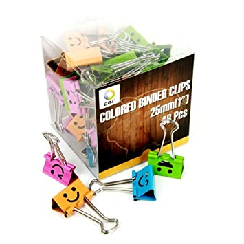 CBC Smiling Binder Clips 1 Inch Wide 2 5 Inch
