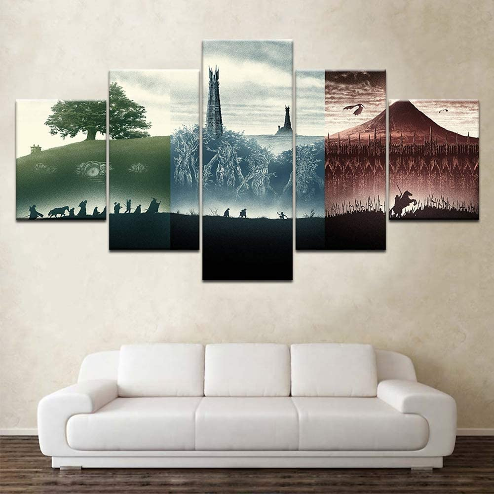 ZYUN 5 Piece Canvas Print Wall Art Lord of The Rings Movie - Wallpapers Modern Poster - Mural Painting for Living Room Home Decor,40×60×2+40×80x2+40×100×1