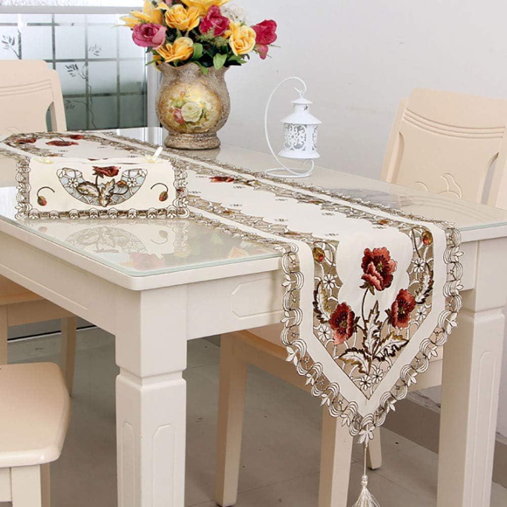 Red 150cm CRAZYON Chemin de Table /à Broder Exquis en Dentelle pour d/écoration dint/érieur 40