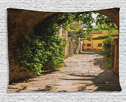 """Ambesonne Medieval Tapestry, Streets of Tuscany Old Mediterranean Middle Age Town European High Culture Italy, Wide Wall Hanging for Bedroom Living Room Dorm, 80"""" X 60"""", Green Sand"""