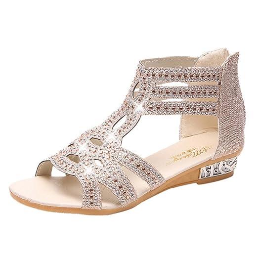 bd386d5cd7d9 Women s Open Toe Sandals Cutout Glitter Rhinestone Ankle Strap Sandals Low Heel  Sandals (Beige